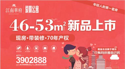 南宁新会展中心【华南城·江南华府】现推出46-53㎡现房精装公寓,学区地铁配套