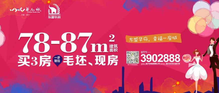 南宁新会展中心【华南城·东盟华府】现推出78-87㎡毛坯+现房+学区+地铁
