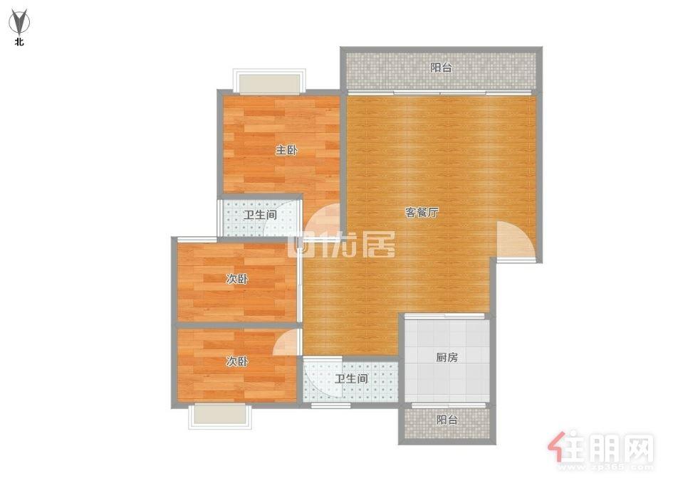 云星尚雅名都精装3房租2200 户型方正采光好 南北通透 拎包入住