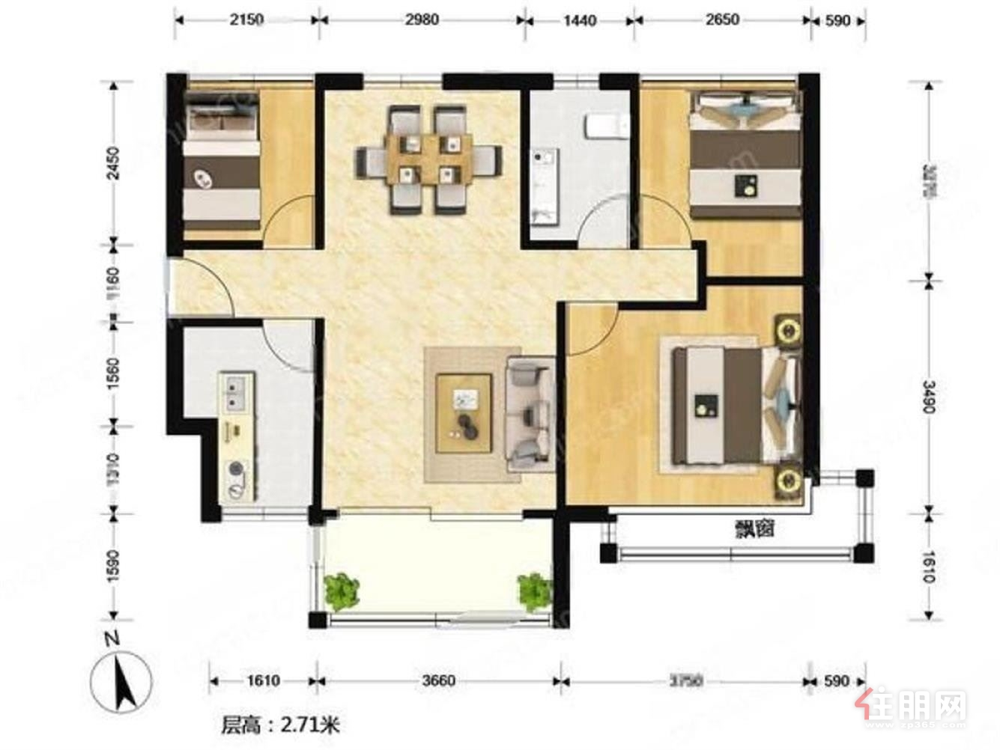 旺南小区 3300元 3室2厅1卫 精装修,楼层佳,看房方便