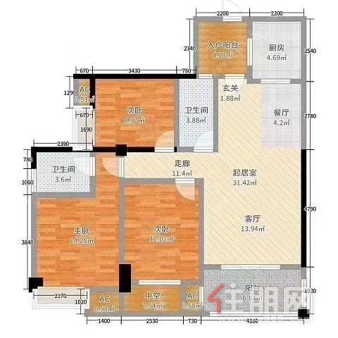 西园饭店小区 3室2厅2卫