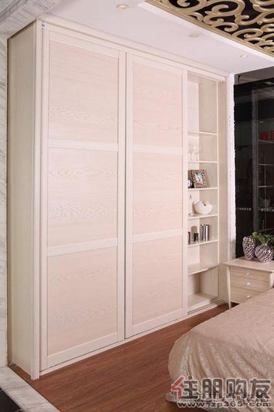 定制衣柜; 索菲亞拉斐特系列象牙白實木貼皮移動門