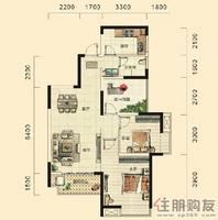 湘府十城B1户型2室2厅1卫89.64㎡