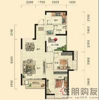 湘府十城A1户型2室2厅1卫78.49㎡