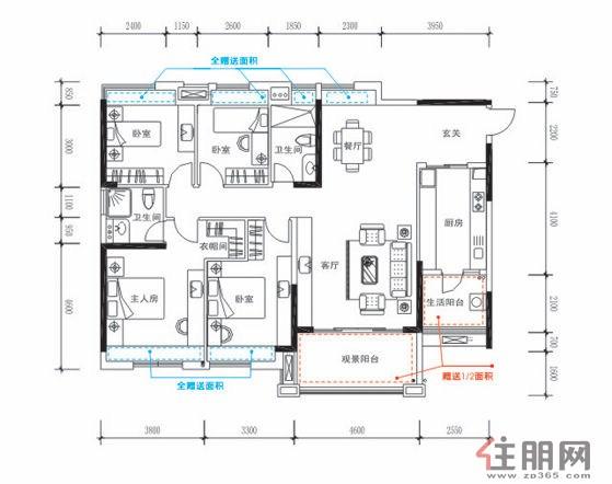 四房两厅四卫设计图纸