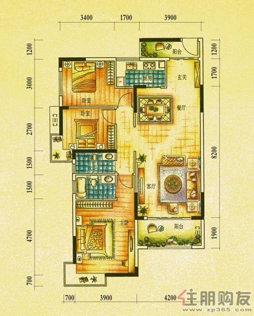 右江河谷江与城江与城1期御景湾G2户型3室2厅2卫121.56�O