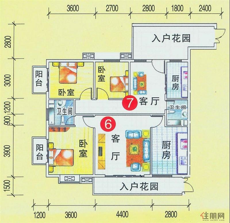 63㎡;7户型:二房一厅一卫,建筑面积:72.03㎡