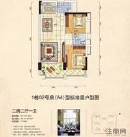 魅力首座A4两房两厅户型