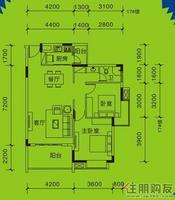远通上城1#、17#楼03.05户型2室2厅1卫89.00�O