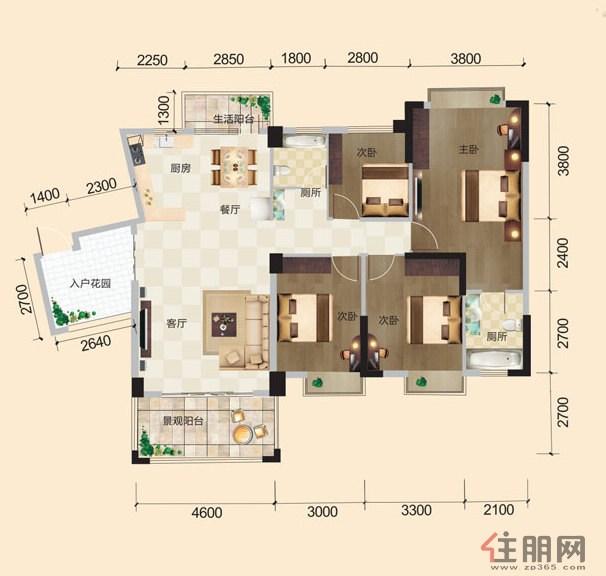 港龙湾波托菲诺16号楼C3C户型4室2厅2卫141.88�O