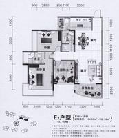 中城丽景花园E23室2厅2卫104.59�O