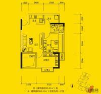 同人学府大道2#楼时尚两房户型2室2厅1卫60.41�O