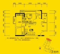 同人学府大道2#楼时尚两房户型2室2厅1卫60.29�O