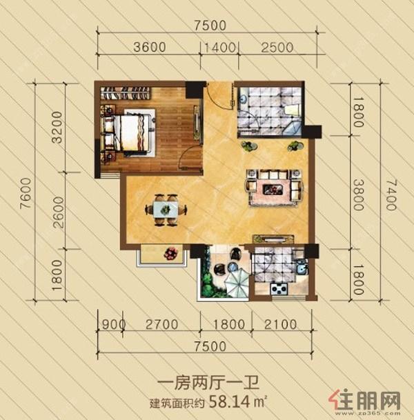 英华东方河畔户型图1室2厅1卫58.14�O