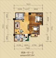 英华东方河畔户型图2室1厅1卫58.14�O