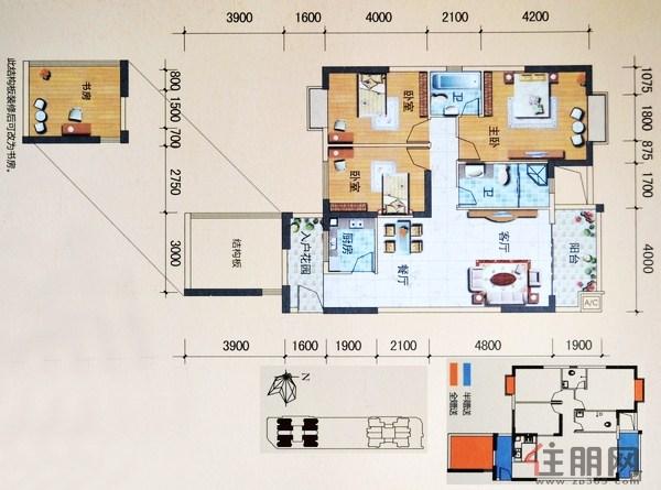 三生天海观邸A座01、03、05、07户型3室2厅2卫114.00�O