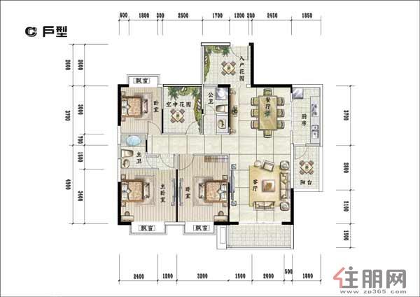 天香国际天香国际---户型图-C3室2厅2卫125.33�O