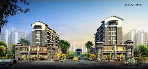 龙江新城小区入口透视图