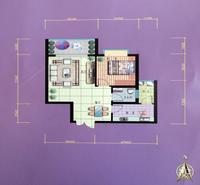 锦泰现代城B户型1室2厅1卫58.36�O