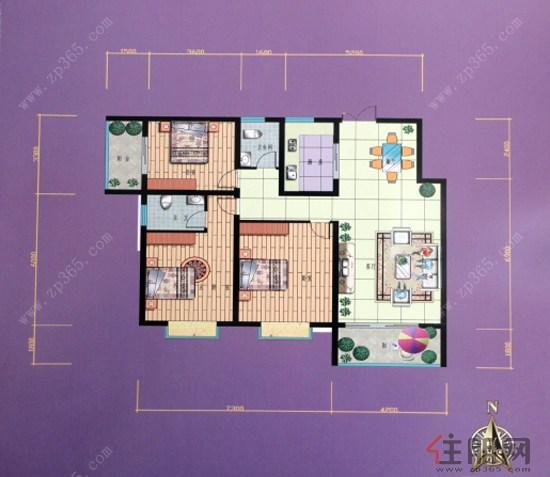 锦泰现代城C户型3室2厅2卫134.67�O