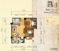 英华东方河畔A3户型2室1厅1卫57.51�O