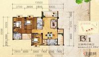 英华东方河畔B1户型3室2厅2卫122.39�O