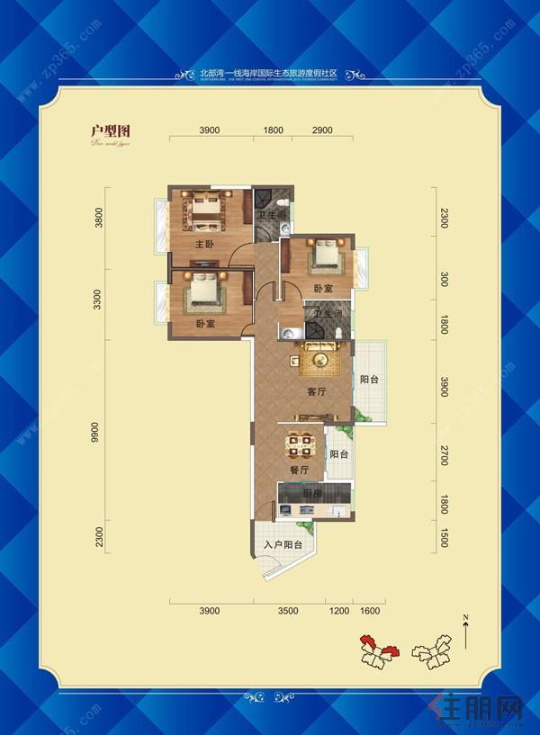 鹏轩瑞海尚都8号楼a1户型图3室2厅2卫116.00�O