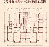 2号楼标准层平面示意图