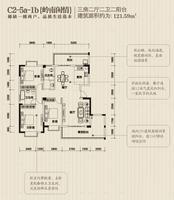 振宁现代鲁班C2-5a-1b户型3室2厅2卫121.59�O