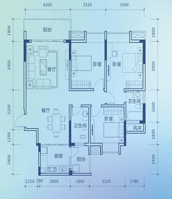 彰泰新城彰泰新城11#I2户型121�O三房0室0厅0卫121.00�O