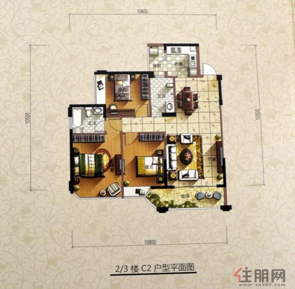 和德御景台2、3楼-C2左3室2厅2卫116.60�O