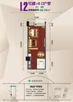 北部湾商业中心1、2号楼B、C户型(公寓)1室0厅1卫53.72�O
