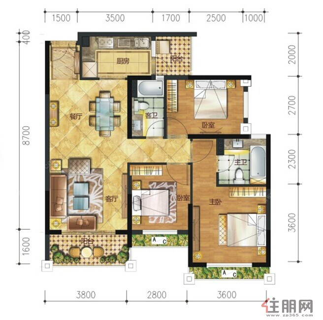 汉军・五象一号1-4#楼01户型3室2厅2卫104.00�O