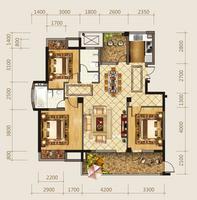 海华东盟公馆C1户型3室2厅2卫138.00�O