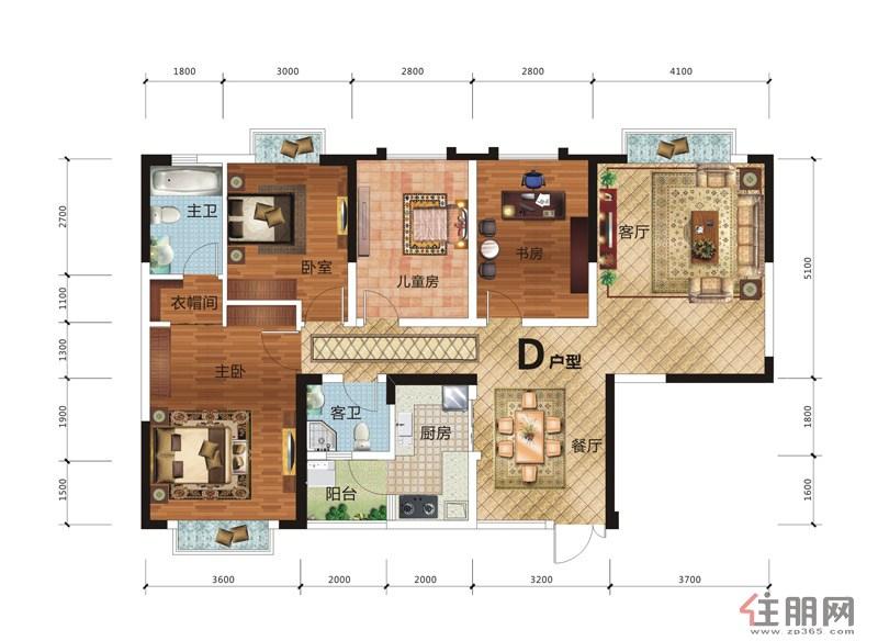 龙基・传媒星城龙基・传媒星城6号楼D户型4室2厅2卫116.47�O