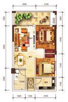 万达公寓66.16㎡两房