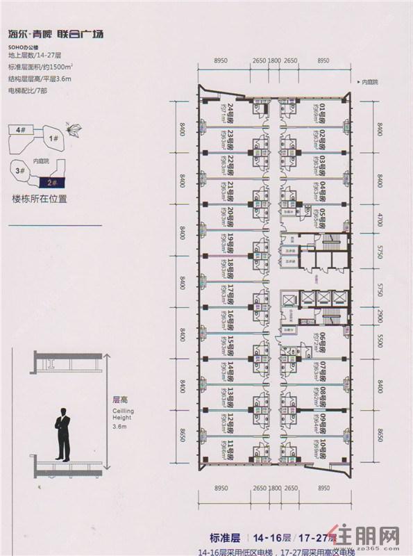 海尔青啤联合广场2#标准层平面图