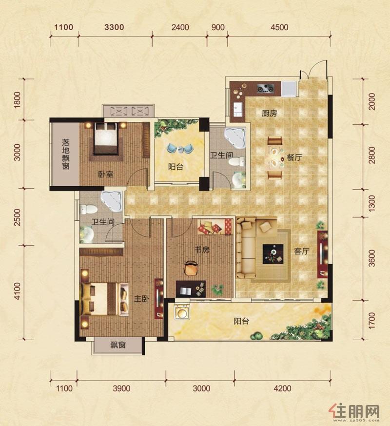 中房翡翠园赤瑛轩C10-C户型3室2厅2卫130.12―130.17�O