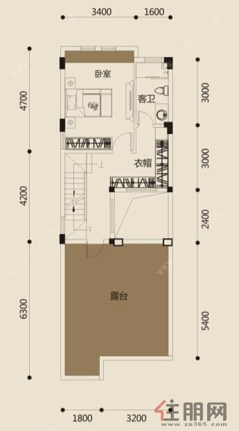 联排别墅a三层平面图