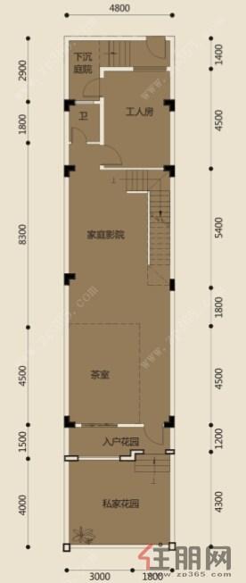 联排别墅b负一层平面图