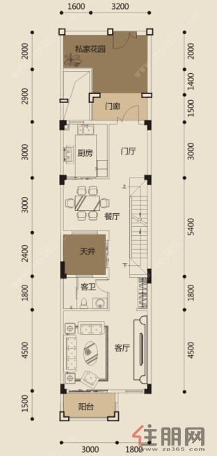广投龙象城联排别墅b一层平面图0室0厅0卫0.00㎡