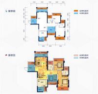 云星华府2#楼1单元02户型3室2厅2卫87.96�O