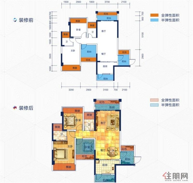 云星华府2#楼2单元01户型3室2厅2卫93.14�O