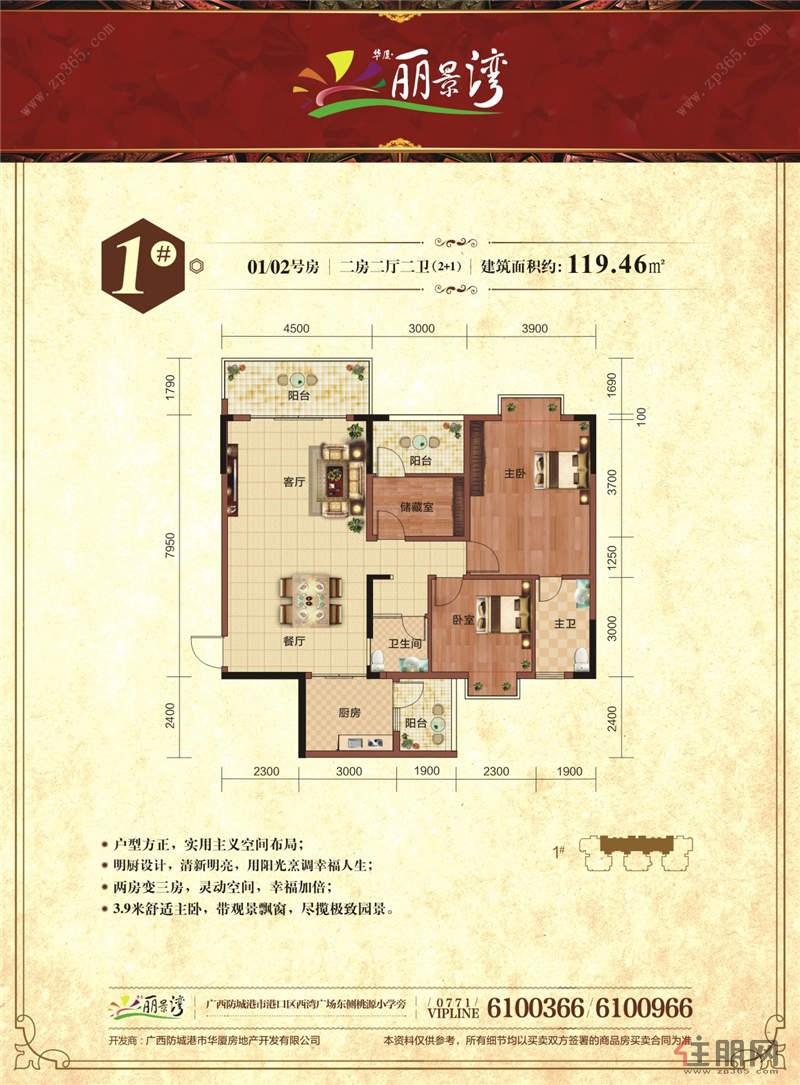华厦丽景湾1栋01/02号房0室2厅2卫119.46―119.46�O