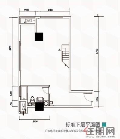 南宁江南万达广场A户型标准下层平面图0室0厅1卫81.84�O