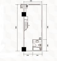 南宁江南万达广场B户型标准下层平面图0室0厅1卫57.76�O