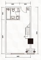 南宁江南万达广场D户型标准下层平面图0室0厅1卫50.26�O