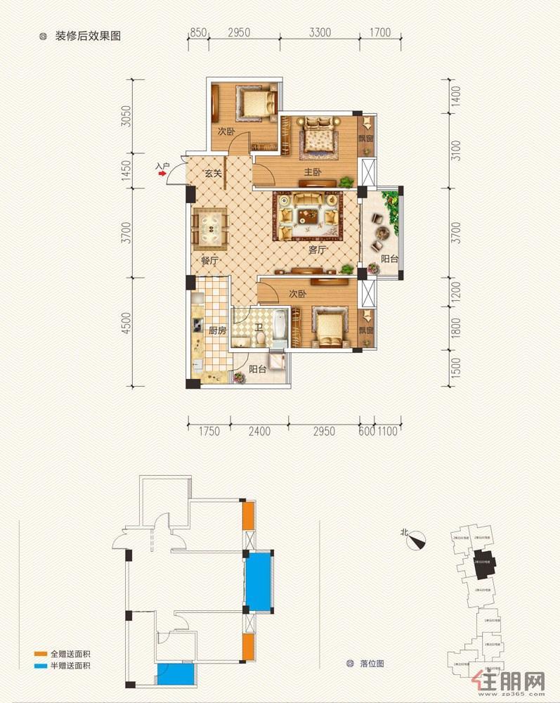东方城市花园2单元203-1803号房3室2厅1卫98.34�O