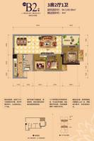 江宇世纪城13#楼B2户型3室2厅1卫84.30�O
