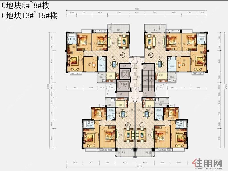 锦绣丽园C地块5#-8#、13#-15#A户型0室2厅2卫123.72―143.59�O